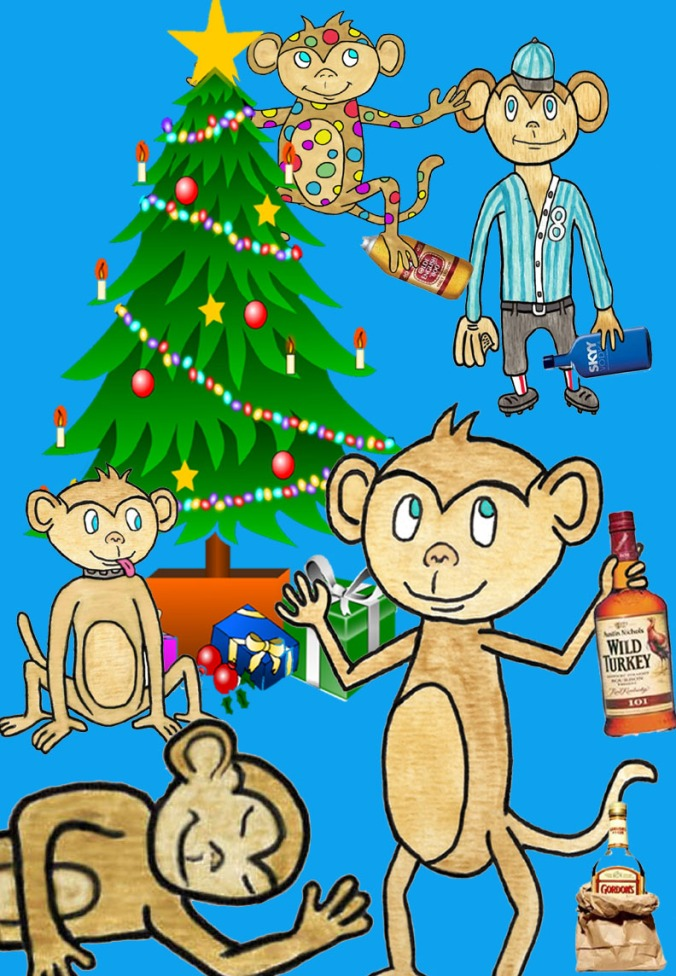 That's more like it.  The holidays are a time for partying.  (Arthur Browne created this image.  Art likes monkeys, probably because he claims to be a monkey.  You can see more monkeys on his blog, Pouring My Art Out.)