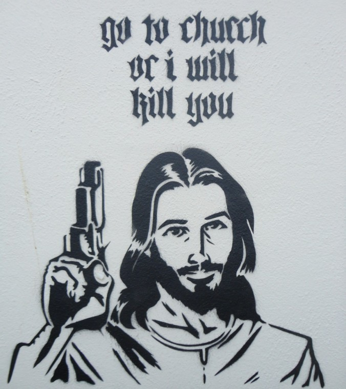We all know what Jesus would do.  (Photo credit: RIOT Devon England)